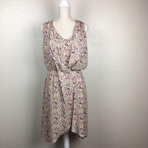 I. Madeline Splatter Print Faux Wrap Midi Dress